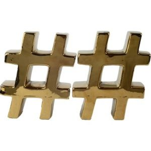 2 Piece GOLD Hashtag Bookends! NWOT